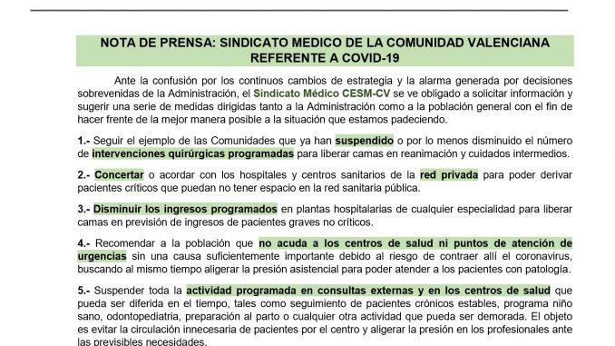 Nota de prensa de CESM-CV