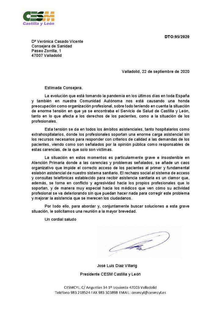 La carta enviada a la consejera de Sanidad