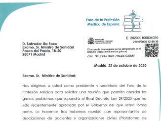 Carta registrada en el Ministerio de Sanidad