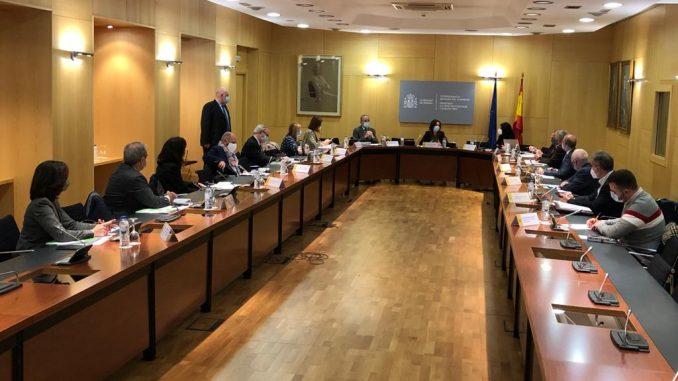 Momento de la reunión anterior en el ministerio.