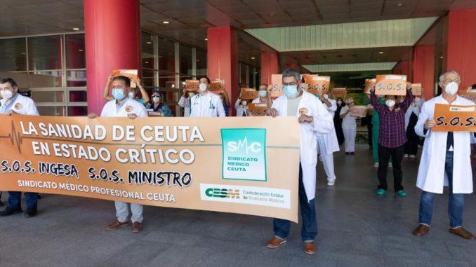 Manifestación del Sindicato Médico en el Hospital Universitario.