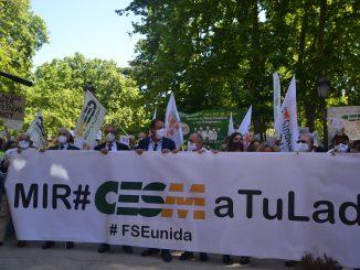 Manifestación MIR de este 25 de mayo con responsables de CESM, CGCOM y FSEunida