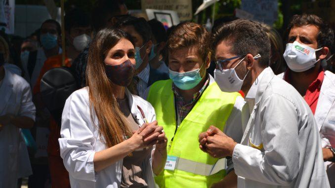 Los responsables MIR de CESM, FSEunida y CGCOM; Sheila Justo, Alejandro Cuéllar y Domingo A. Sánchez, respectivamente