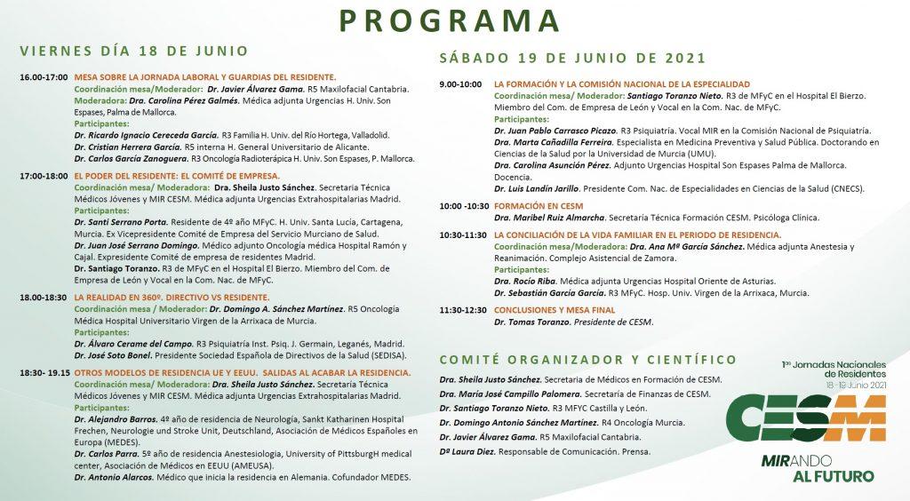 Programa completo de las jornadas.