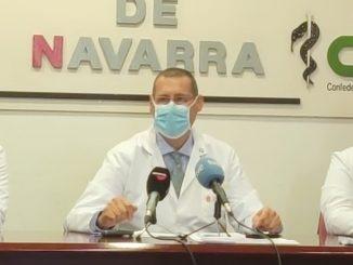 Momento de la rueda de prensa del Sindicato Médico de Navarra.