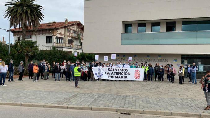 Momento de la concentración en San Adrián.